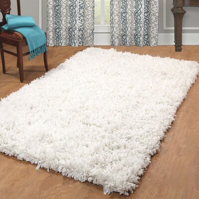 Peggy Hand Woven White Shag Area Rug Rug Size: Rectangle 4 x 6