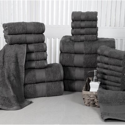 24 Piece Towel Set Color: Grey