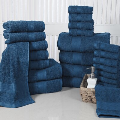 24 Piece Towel Set Color: Denim