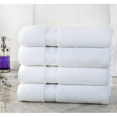 Briele Quick Dry Zero Twist Cotton Bath Towels Color: White