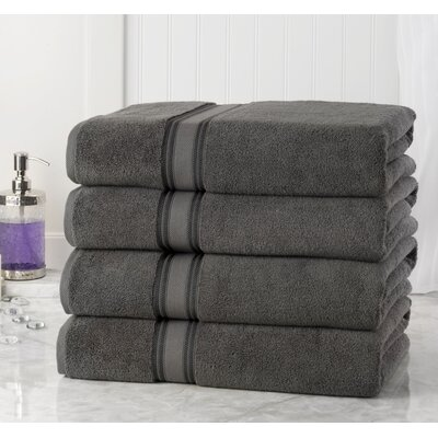 Briele Quick Dry Zero Twist Cotton Bath Towels Color: Gray
