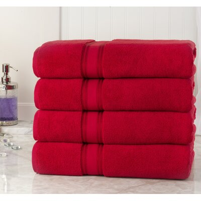 Briele Quick Dry Zero Twist Cotton Bath Towels Color: Red