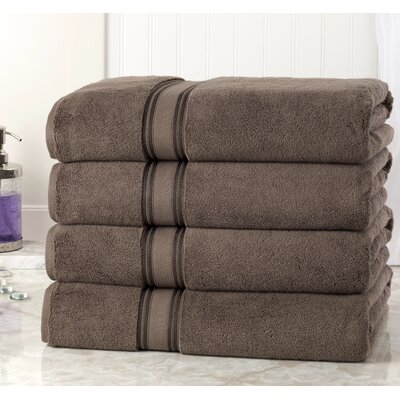Briele Quick Dry Zero Twist Cotton Bath Towels Color: Chocolate
