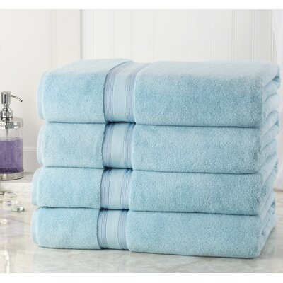 Briele Quick Dry Zero Twist Cotton Bath Towels Color: Blue