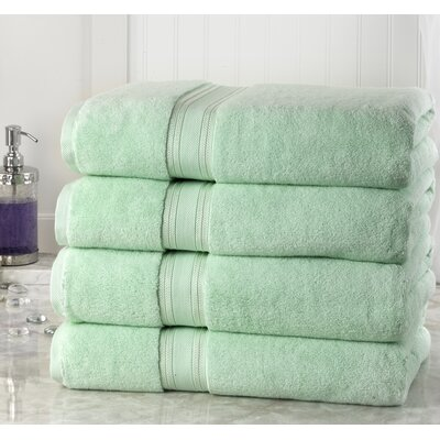 Briele Quick Dry Zero Twist Cotton Bath Towels Color: Jade