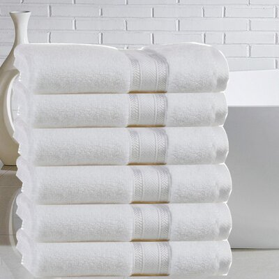 Briele Quick Dry Zero Twist Cotton Hand Towel Color: White