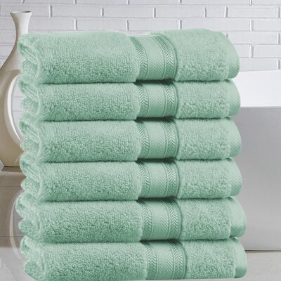 Briele Quick Dry Zero Twist Cotton Hand Towel Color: Jade