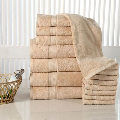 Woolf 16 Piece Cotton Towel Set Color: Beige