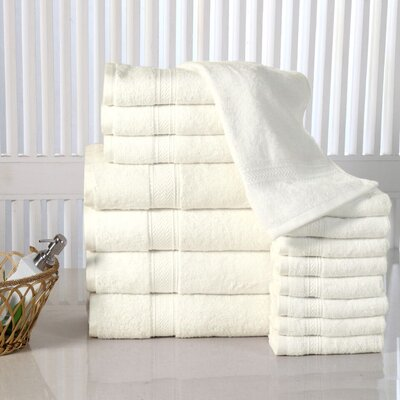 Woolf 16 Piece Cotton Towel Set Color: Ivory