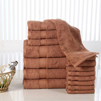 Woolf 16 Piece Cotton Towel Set Color: Mocha