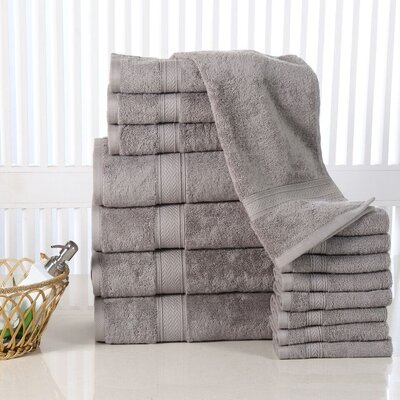 Woolf 16 Piece Cotton Towel Set Color: Platinum