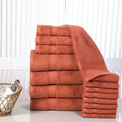 Woolf 16 Piece Cotton Towel Set Color: Rust