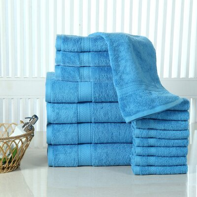 Woolf 16 Piece Cotton Towel Set Color: Sea Blue