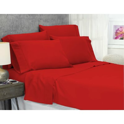 Cayetano Luxury Ultra Comfort Bed Sheet Set Size: King, Color: Red