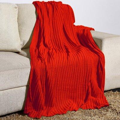 Millwood Rib Knit Cotton Throw Color: Flame Orange