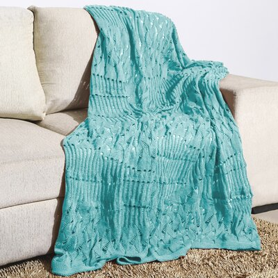 Woodbrige Knitted Fishnet Cotton Throw Color: Eggshell Blue