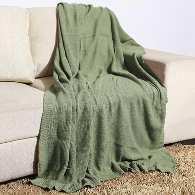 Millerton Moss Knit Cotton Throw Color: Iceberg Green