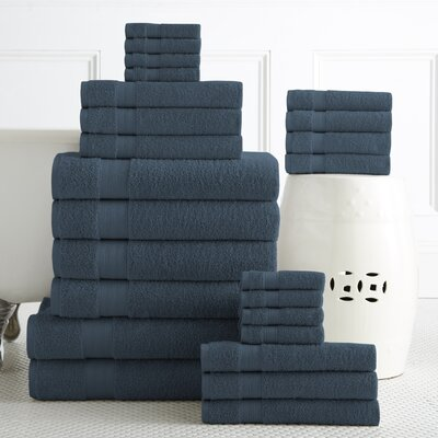 24 Piece Towel Set Color: Denim