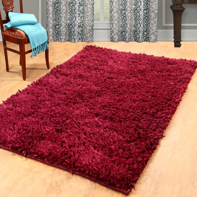 Cozy Hand-Woven Plum Red Area Rug Rug Size: 5 x 8