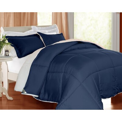 3 Piece Comforter Set Color: Navy, Size: Queen