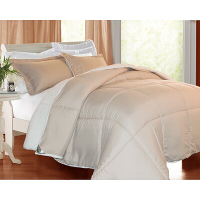 3 Piece Comforter Set Color: Khaki, Size: Twin