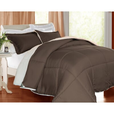 3 Piece Comforter Set Color: Chocolate, Size: Twin
