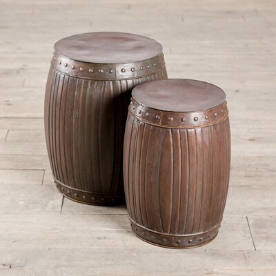 Fluted Round Barrels 2 Piece End Table Set Finish: Copper