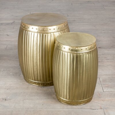 Fluted Round Barrels 2 Piece End Table Set Finish: Brass