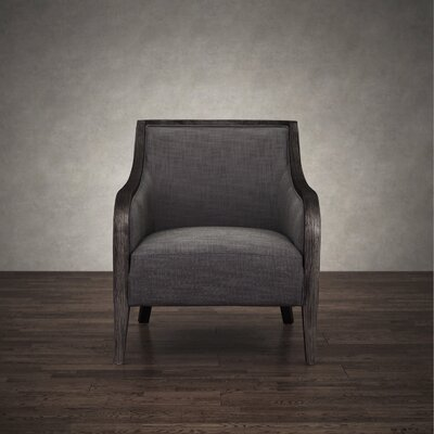 Montague Gray Linen and Birch Wood Lounge Armchair