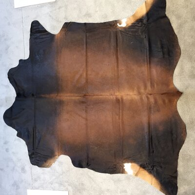 Cowhide Hand-Woven Dark Brown Area Rug
