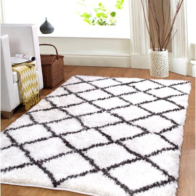 Hand-Woven White Area Rug Rug Size: 8' x 10'