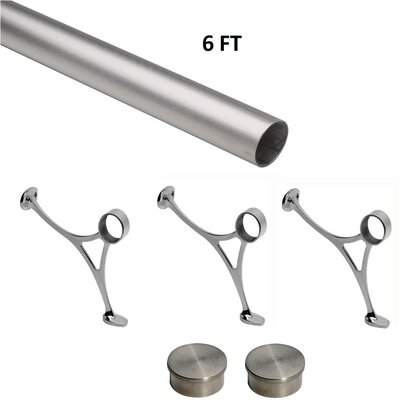 Bar Foot Rail Kit Color: Satin (Brushed) Stainless Steel, Size: 7.5 H x 72 W x 7.5 D