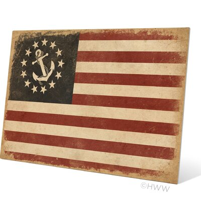 """Anchored in America Flag Graphic Art Plaque Size: 16"""" H x 20"""" W x 1"""" D BH043MTL16X20"""