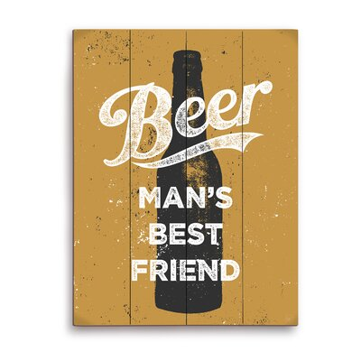 Beer Man's Best Friend Graphic Art in Black and Gold Size: 20