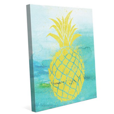 'Tropical Pineapple' Painting Print on Wrapped Canvas Size: 10