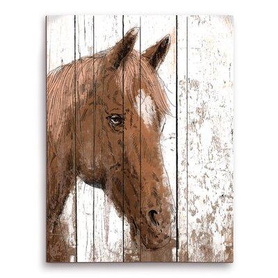 """Horse Portrait on Wood"""" Painting Print on Plaque FHS0000055PLK09X12XXX"""