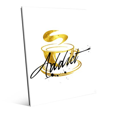 "Addict Cup Graphic Art in Gold Size: 14"" H x 11"" W x 1"" D COF0000021ACR11X14XXX"