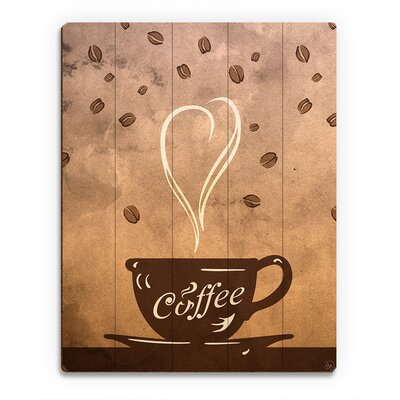 "Wood Slats Cup of Coffee Painting Print on Plaque Size: 14"" H x 11"" W x 1"" D COF0000016PLK11X14XXX"