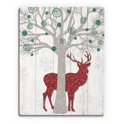 'Glamour Green Tree & Red Reindeer�' Graphic Art on Plaque GXM0000103PLK09X12XXX