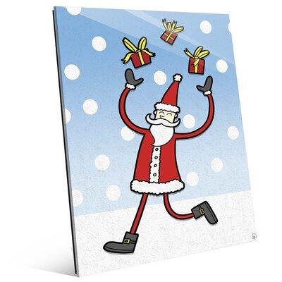 "'Juggling Red Santa - Blue Sky' Graphic Art on Plaque Size: 14"" H x 11"" W x 1"" D KXM0000007GLS11X14XXX"