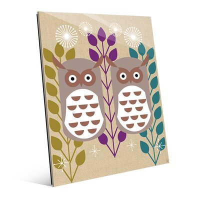 Retro Owls Purple Graphic Art on Plaque RET0000458GLS16X20XXX
