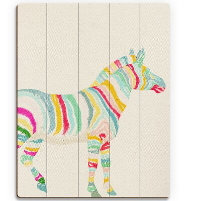 'Rainbow Stripe Zebra' Painting Print on Plaque HIP0000019PLK09X12XXX