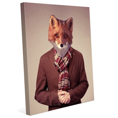 'Realistic Hipster Fox' Graphic Art on Wrapped Canvas HIP0000064CAN08X10SXX