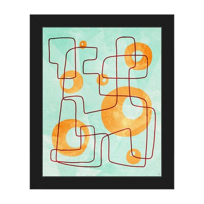 'Bubble Cage Teal' Framed Graphic Art ABS0012015FRA08x10SES