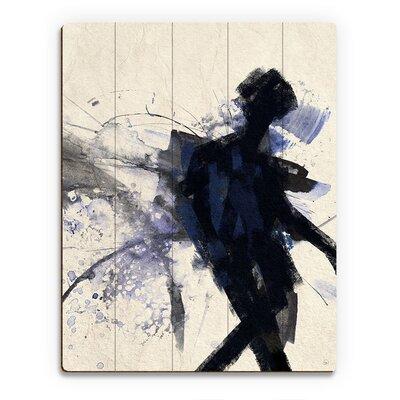 'Shadow Figure Indigo' Painting Print on Wood PEO0000099PLK09X12XXX