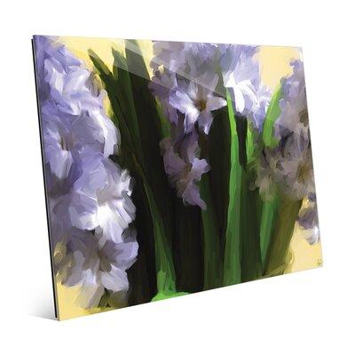 'Purple Vase Flowers' Painting Print on Glass FLR0000430GLS08X10XXX