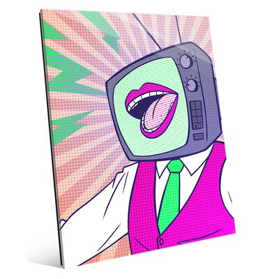 'TV Head' Graphic Art Print on Glass in Fuchsia COM0000137GLS08X10XXX