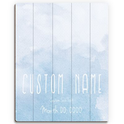 Custom Kids 'Watercolor' Graphic Art Print on Wood in Blue CKD0000029PLK+09X12