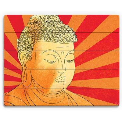 'Buddha Vermillion Wash' Graphic Art Print on Wood Size: 11