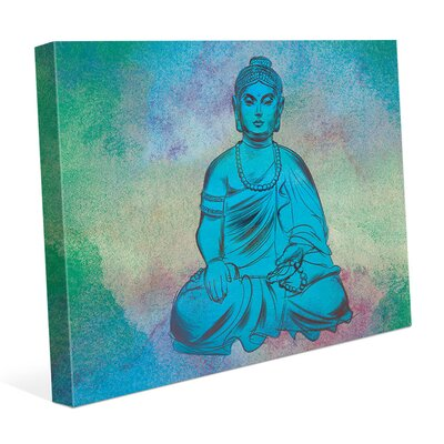 'Calm Turquoise Buddha' Framed Graphic Art Print on Canvas Size: 11
